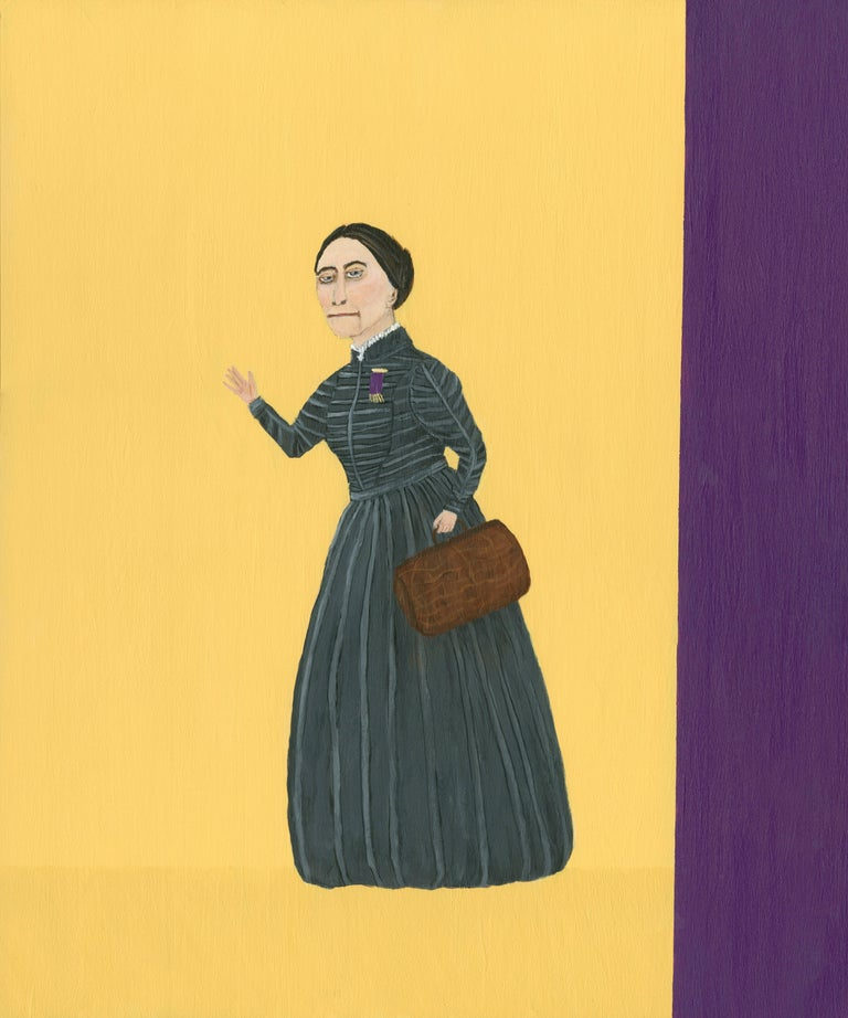 Mary Dwyer, Susan B. Anthony On the Road Again, 2014, Arcylic Paint, Wood Panel - Painting by Mary Dwyer