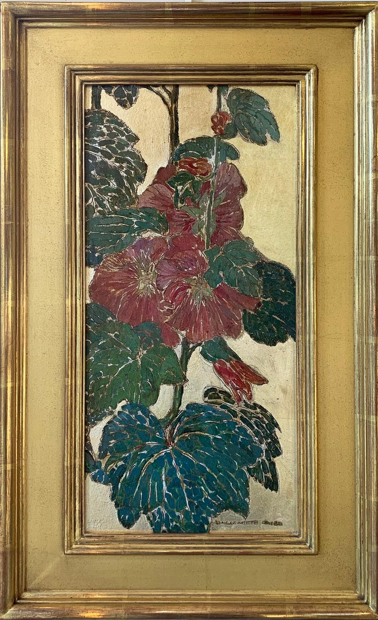 "Mary Elizabeth Price Still-Life Painting - M. Elizabeth Price, ""Hollyhocks"" Pair of Floral Panels, Oil and Gold Leaf"