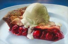 """Big Cherry Pie a la Mode""   Photo-Realist Pie Slice/ Vanilla Ice Cream on Blue"
