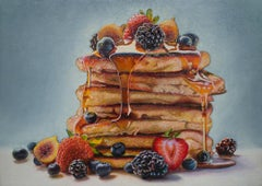 "Photorealist Still Life with Pancakes, ""Big Stack with Fruit"", oil on panel"