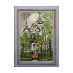 """Granny's House"" Folk Art Painting of a Victorian House with Children & Balloons"