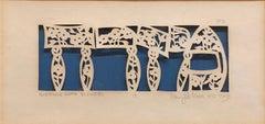 Judaica Papercut Hebrew Mizrach Flowers American Judaica Folk Art Craft Work