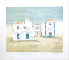 ALGARVE LANDSCAPE Signed Lithograph, Country Summer House, Portugal