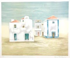 ALGARVE LANDSCAPE Signed Lithograph, Country House Landscape, Portugal