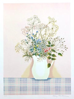 HERBS ON PINK Signed Lithograph, Contemporary Botanical, Herbal Bouquet, Dill