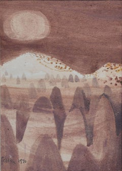 Mary Fedden 1970 watercolour Moonlight at Cappadocia Modern British Art