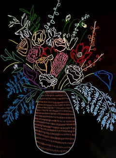 Dotted Vase At Night, Mary Finlayson, Gouache on Paper- Floral/Still Life/Dark