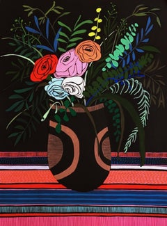 Flowers II, 2020, Mary Finlayson, Gouache on Paper- Floral/Still Life/Dark