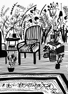 Garden Chair, 2020, Mary Finlayson, Gouache on Paper- Interior/Still Life/ B+W