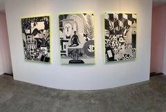 India Ink Triptych_2021, Mary Finlayson_Interior/Still Life/Black+White
