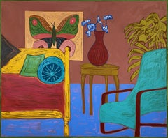 Parlor Room with Blue Vase_2021_Mary Finlayson_Oil on Canvas_Interior/Still Life