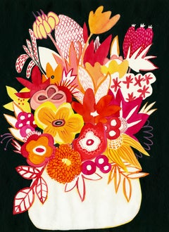 White Vase at Night, Mary Finlayson, Gouache on Paper- Floral/Still Life/Dark