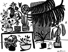 Wolf Vase with Plants, Mary Finlayson, Gouache on Paper- Interior/Still Life