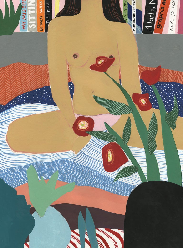 Woman in Bed, Mary Finlayson, Gouache on Paper-Figurative, Nude, Portrait - Painting by Mary Finlayson