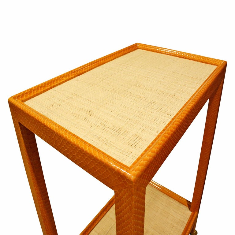 American Mary Forssberg Table in Apricot Python and Madagascar Cloth Tops 2019 'Signed' For Sale