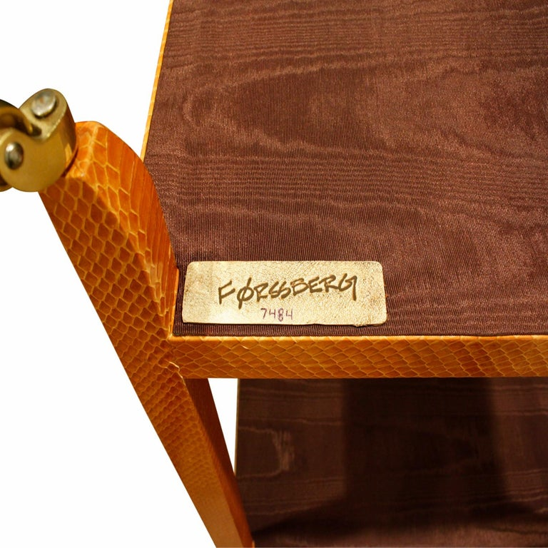 Contemporary Mary Forssberg Table in Apricot Python and Madagascar Cloth Tops 2019 'Signed' For Sale