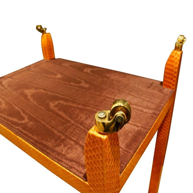 Mary Forssberg Table in Apricot Python and Madagascar Cloth Tops 2019 'Signed' In Excellent Condition For Sale In New York, NY