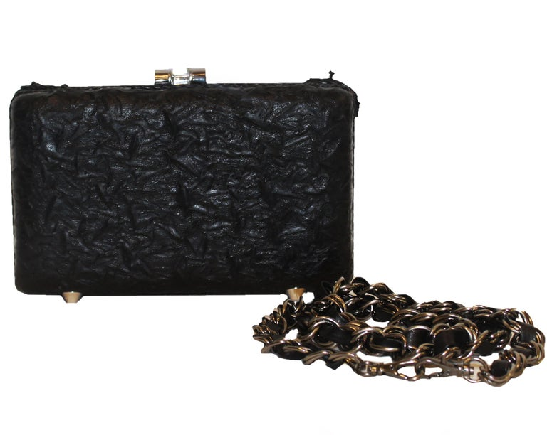 Mary Frances Black Beaded Clutch Bag In Excellent Condition For Sale In Palm Beach, FL