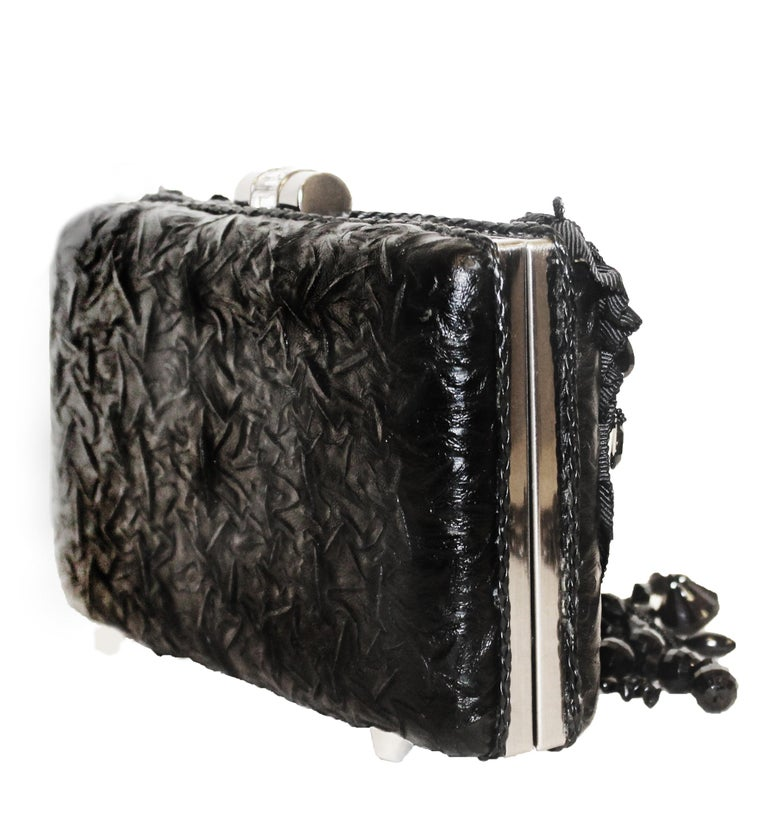Women's Mary Frances Black Beaded Clutch Bag For Sale
