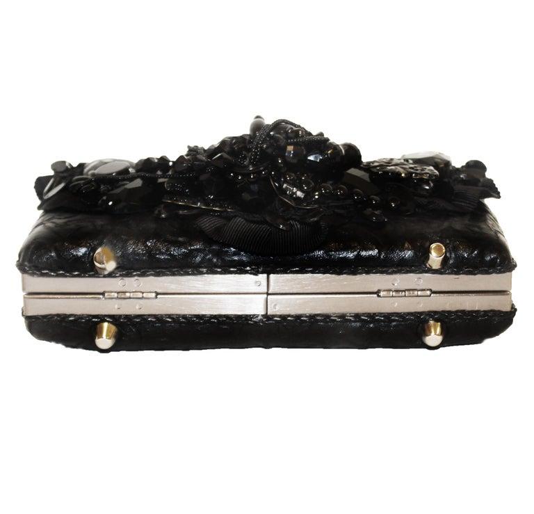 Mary Frances Black Beaded Clutch Bag For Sale 1