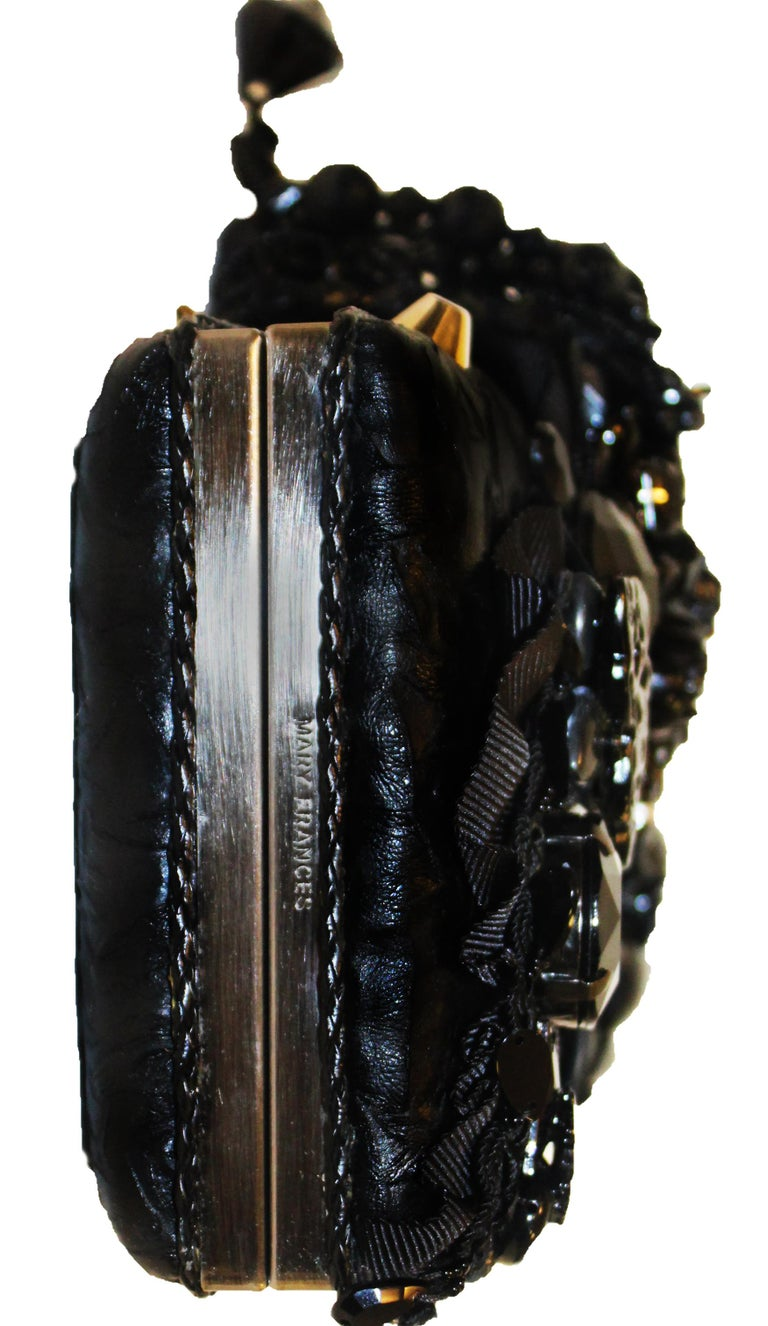 Mary Frances Black Beaded Clutch Bag For Sale 3