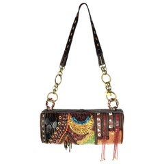 Mary Frances Brown Embellished Shoulder Bag