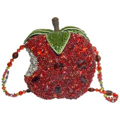 Mary Frances Candy Apple Red Beaded Shoulder Bag