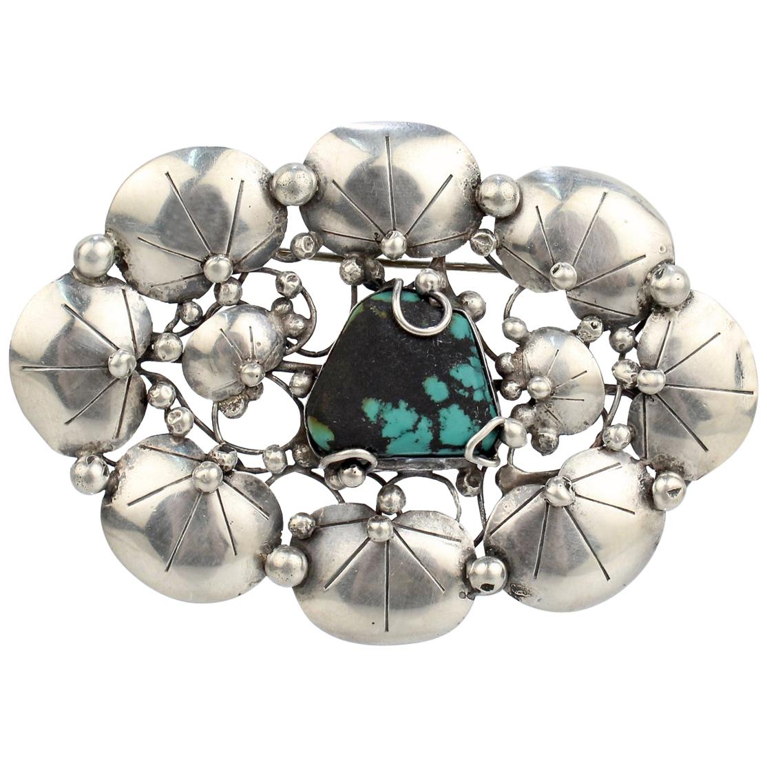 Mary Gage American Arts & Crafts Sterling Silver & Turquoise Lily Pad Brooch Pin