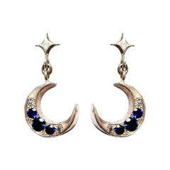 Mary Gallagher 14k Yellow Gold Crescent Earrings with Sapphires and Diamonds