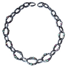 Mary Gallagher Sterling Silver Opal and Garnet Set Chain