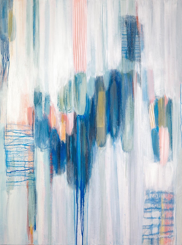 This abstract painting by Mary Gaspar is made with watercolor, acrylic, and pastel. The different media are brushed and dripped in layers of deep blue, mint green, salmon pink and gold. The abstracted shapes cluster together to create a light and