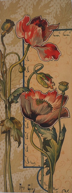 Art nouveau Stylized Red Poppies - Original lithograph