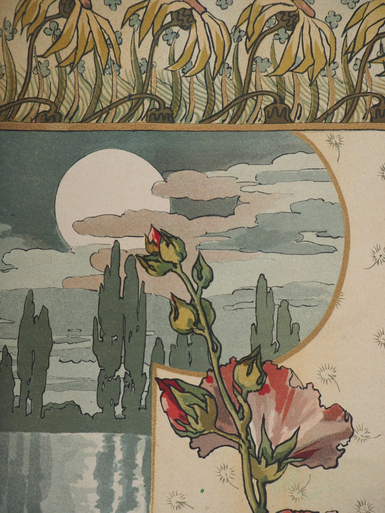 Hollyhock and Wader at Sunset - Original lithograph - Art Nouveau Print by Mary Golay
