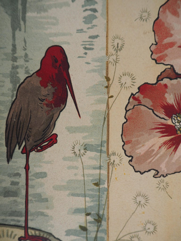 Mary GOLAY (1869 - 1944) Hollyhock and Wader at Sunset  Original stone lithograph Printed signature in the plate On vellum 39 x 14.5 cm (c. 16 x 6 inch) Edited by Coulin & Cie, Geneva c. 1895 and printed in Atar lithographic workshop  Very good