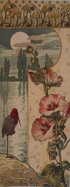 Hollyhock and Wader at Sunset - Original lithograph