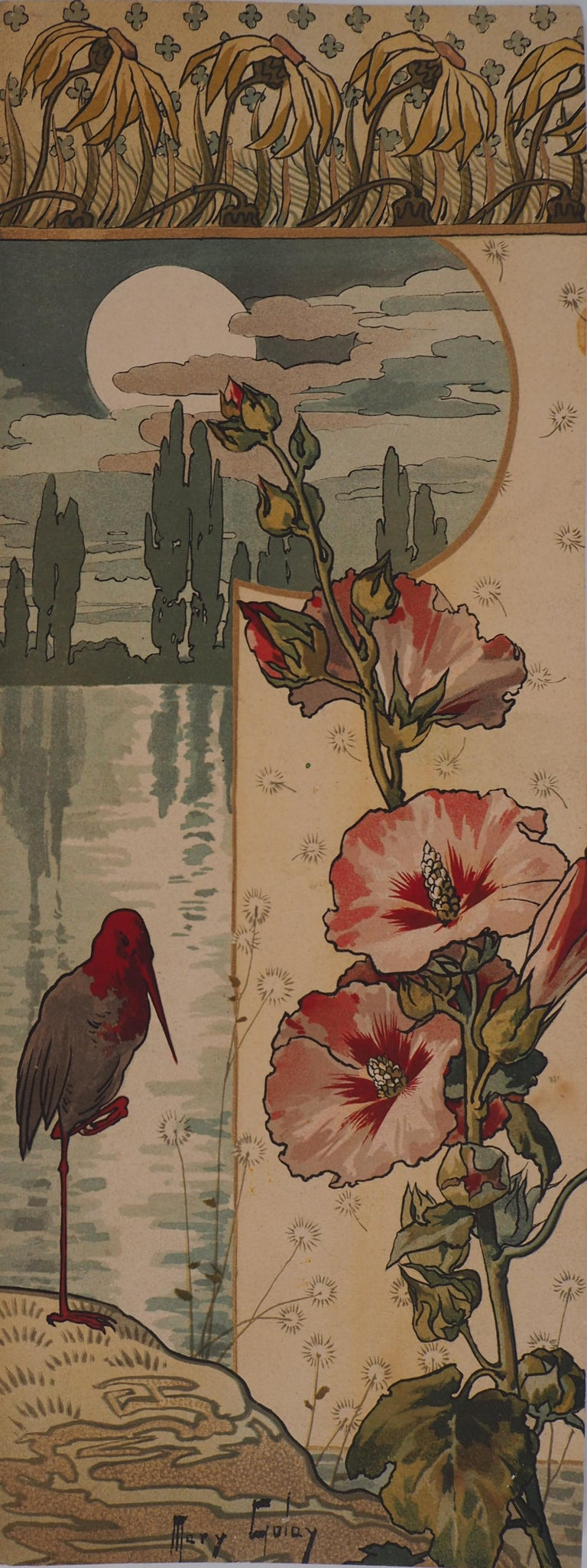 Mary Golay Landscape Print - Hollyhock and Wader at Sunset - Original lithograph