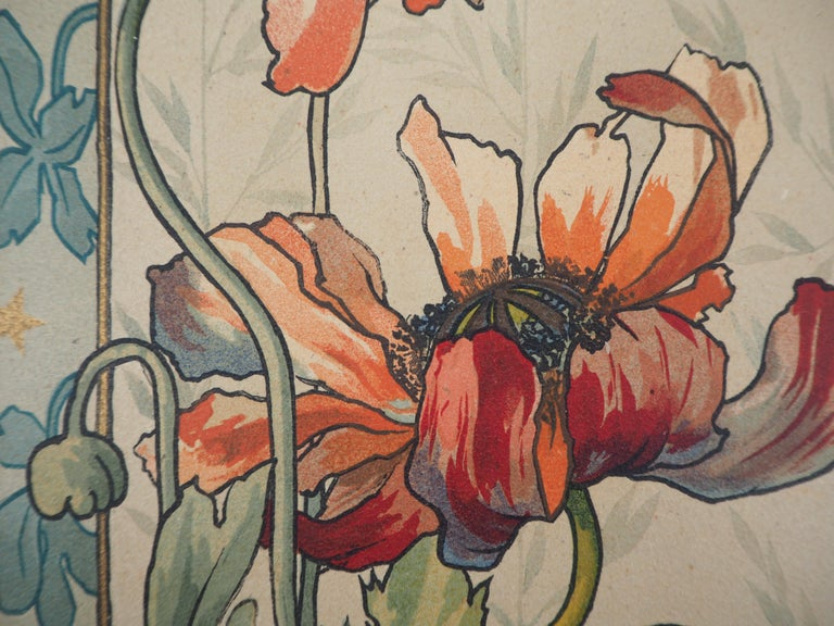 Mary GOLAY (1869 - 1944) Red Poppies and Flydragons   Original stone lithograph Printed signature in the plate On vellum 39 x 14.5 cm (c. 16 x 6 inch) Edited by Coulin & Cie, Geneva c. 1895 and printed in Atar lithographic workshop  Very good