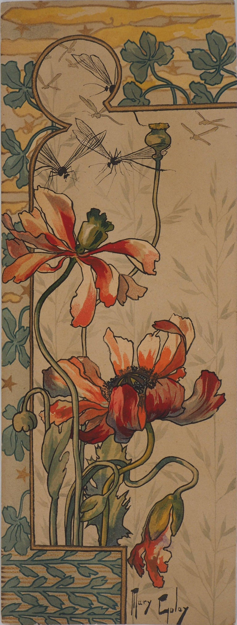 Mary Golay Landscape Print - Red Poppies and Flydragons - Original lithograph