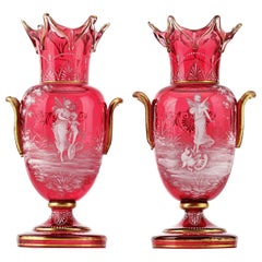 Mary Gregory Cranberry Glass Vases
