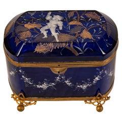 Mary Gregory Gilt and Cobalt Blue Art Glass Box