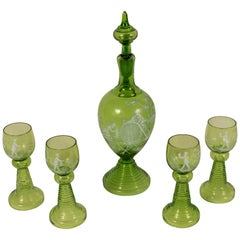 Mary Gregory Green Glass Goblet and Decanter Set