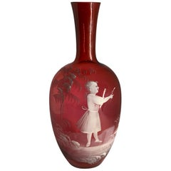 Mary Gregory Red Glass Single Bud Vase