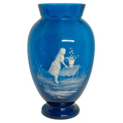 Mary Gregory Royal Blue Glass Vase