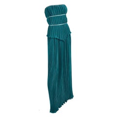 Mary Jane Denzer Green Dress Vintage Pleated Strapless Evening Gown
