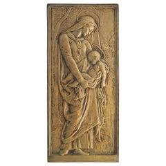 Madonna Jesus Art Nouveau Plaque Bronze Signed Daniel Dupuis Belle Epoque