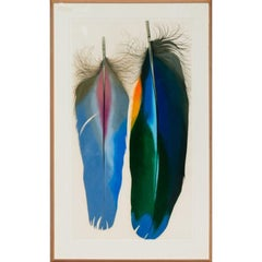 """Two Scarlet Macaw Feathers"" by Mary Jo McConnell circa 1980s Mixed Media"