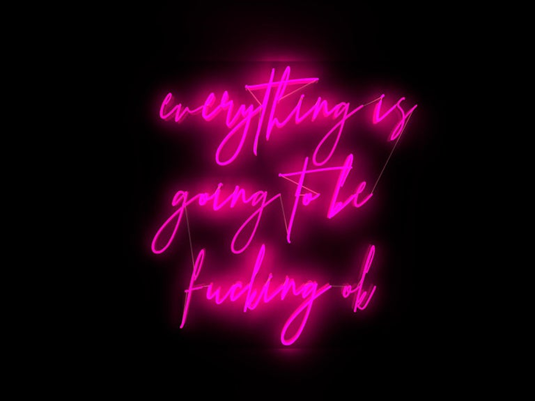 Mary Jo McGonagle Figurative Sculpture - Everything is going to be fucking ok  - neon art work
