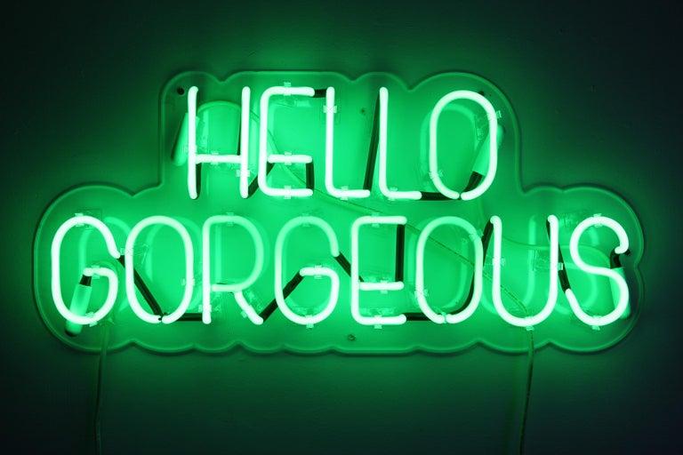 Hello gorgeous - neon art work - Sculpture by Mary Jo McGonagle