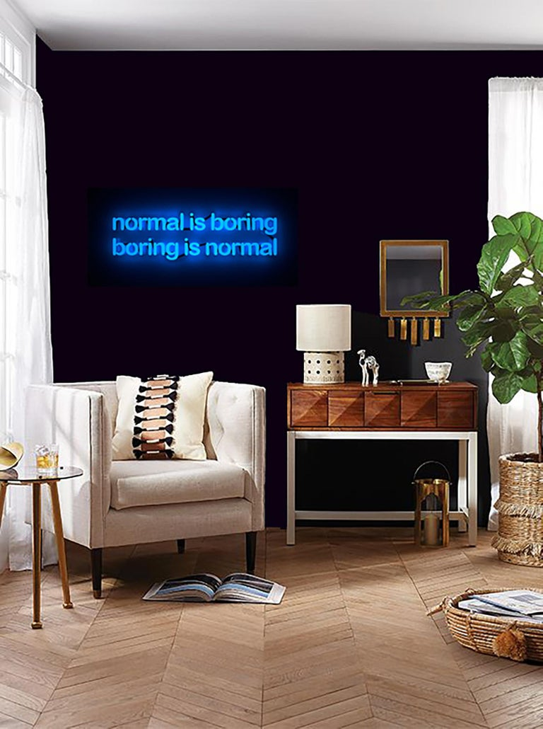 Normal is boring boring is normal - neon art  - Sculpture by Mary Jo McGonagle