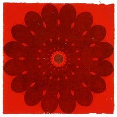 Rose Window 53, Large, Botanical Mandala Relief Print in Dark Grey on Red Paper